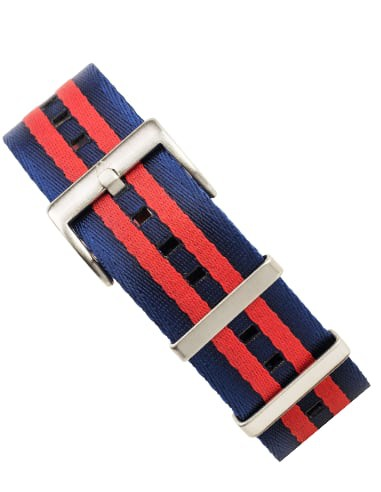 22 mm seatbelt NATO Band Blauw/Rood
