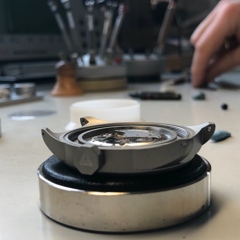 Assembly of a watch by our watchmaker