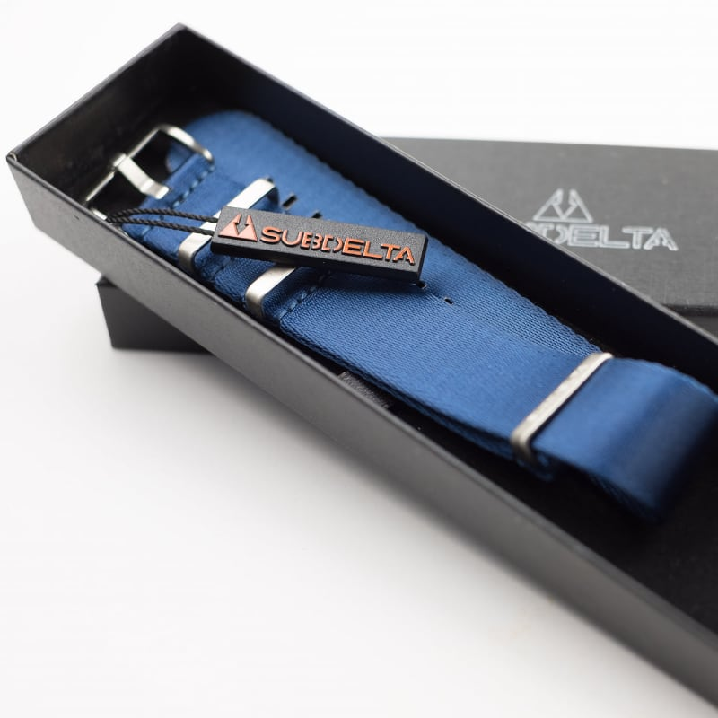Subdelta 22mm Seatbelt NATO Watchband in Marine Blue in Giftpackaging