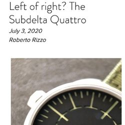 Great review of the Subdelta Quattro by @robbieandwatches   https://www.robbieandwatches.co.uk/single-post/2020/07/03/Left-of-right-The-Subdelta-Quattro